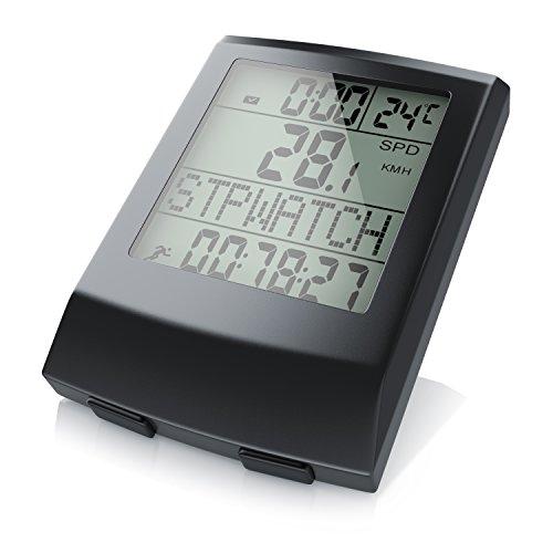 aplic - Computer per Biciclette Wireless - tachimetro per Biciclette - 13 funzioni - Indicazione della Temperatura in Gradi Celsius - sensore Reed - incl. Accessori di Montaggio - retroilluminazione
