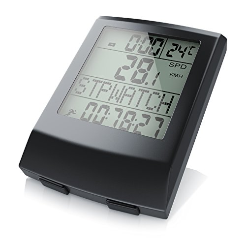 aplic - Ordenador inalámbrico para Bicicleta | velocímetro para Bicicleta | 13 Funciones/Display de Temperatura en °C | Sensor de láminas | Incl. Accesorios de Montaje | retroiluminación | IP65