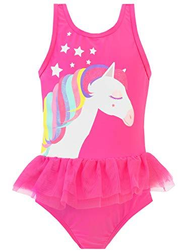Harry Bear Bañador para Niña Pony Arcoiris Rosa 5-6 Años