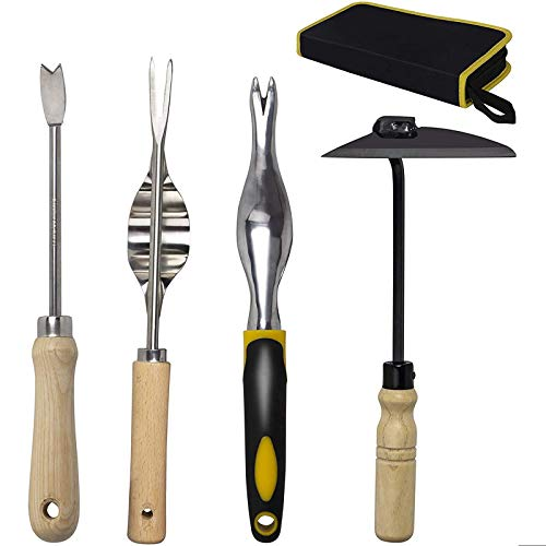 KOTTO 4 Pack Set Hand Weeder Tool, Garden Weeding Tools with Ergonomic Handle, Garden Lawn Farmland Transplant Gardening Bonsai Tools with Storage Bag