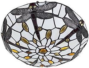 MiniSun – Lampada da soffitto tradizionale nello stile Tiffany e fatta di vetrata colorata di rosso antico e colore di crema con un design bello di libellule – plafoniera