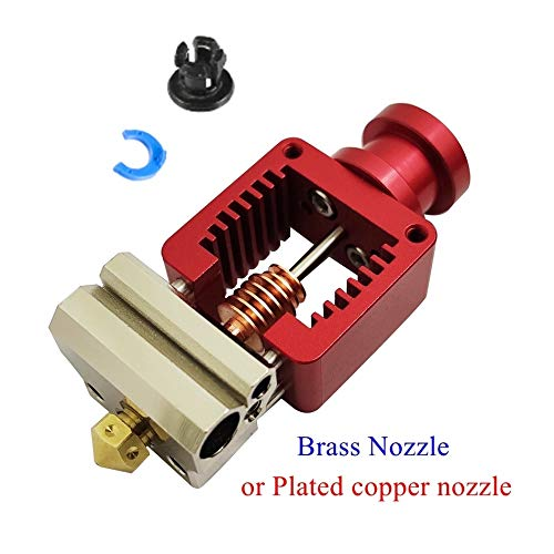 YIJIABINGRU Red Crazy Hotend Cloned Mosquito Hot End V6 Plated Copper Nozzle For Ender 3 CR10 Prusa I3 MK3S Titan/Bmg Extruder 3D Printer (Size : With Brass Nozzle)