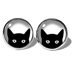 Black Cat Katzen Ohrstecker ABOUKI Damen Mädchen Kind Kinder Edelstahl Ohrschmuck Motiv schwarze Katze Kätzchen…