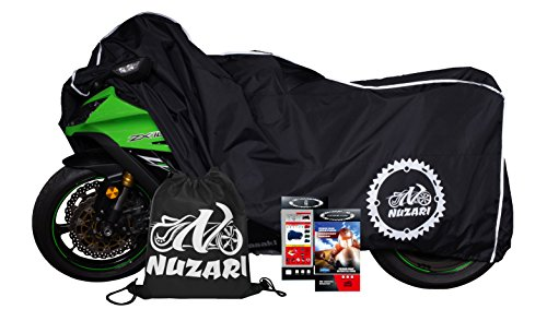 Premium Grade Weather Resistant Motorcycle Cover. Waterproof High Grade Polyester w/Soft Screen & Heat Resistant Shield Lockable fabric, Durable & Long Lasting. Sportbikes & Cruisers (XL, black)