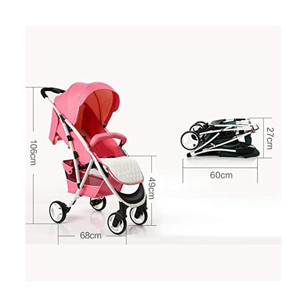 JXCC Baby Stroller Can Sit Reclining Simple Mini Aluminum alloy Stroller Folding Four Seasons Portable Shock absorber Super Child Baby Stroller from 0-36 months -Safe And Stylish Green JXCC 1. Can sit and recline, adjust the angle of 0-180 degrees, suitable for various situations 2. One-button removal, easy to clean, 5 parts can be removed 3. Two-wheel parallel connection, stable shock absorption, front wheel double suspension, single wheel double brake. 3