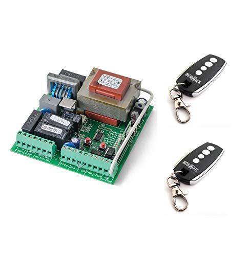 Kit Central electronica maniobras puerta parking garaje batiente de 1 o 2 hojas con paro suave y receptor incorporado y 2 mandos a distancia incopiables Motorline Falk