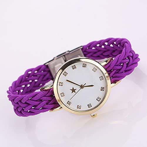 Relojes Reloj De Pulsera De Cuero Trenzado Dorado A La Moda para Mujer, Reloj De Cuarzo De Cristal De Lujo con Estrella De Cristal para Mujer, Reloj E