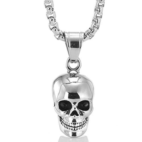 RQQ Cráneo de Titanio Colgante Collar de Acero Inoxidable