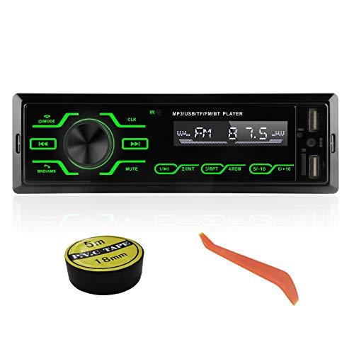 Autoradio Bluetooth 1 DIN, Radio de Coche con micrófono Integrado estéreo, Compatible con USB/TF/SD/AUX, Reproductor Multimedia de MP3 para Coche con 5 Luces de Colores