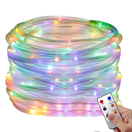 New Waterproof 100 LED Christmas Rope Light W Remote Control - RGB LED Colours - 10m Lighted Length - 8 Lighting Modes to Meet Your Decorative Lighting Needs