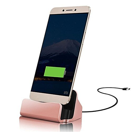 ONX3 Rose Gold Desktop-Ladegerät Micro-USB-Basisstation Datensynchronisation Aufladen Dockingstation Kompatibel mit Wiko View Prime