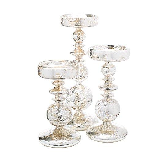 Richland Pillar Candle Holders Unique Mercury Bubble Set of 3