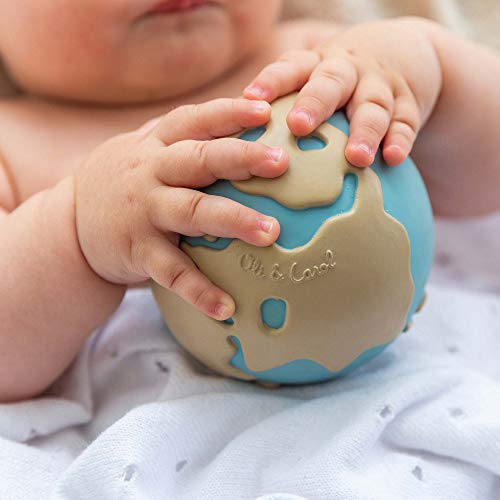 Oli & Carol - Natural Rubber Toy, Earthy The World Ball, 11 cm
