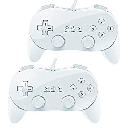 Wii Classic Controller,VOYEE 2 Pack Wired Pro Controller for Nintendo Wii (White_White)
