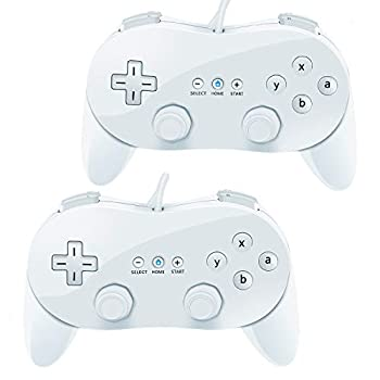 VOYEE Classic Controller Compatible with Wii Classic Controller 2 Pack Wired Pro Controller Compatible with Nintendo Wii Console  White_White