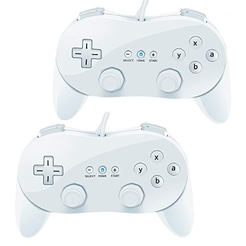 VOYEE Wii Classic Controller,2 Pack Wired Pro Controller for Nintendo Wii (White_White)