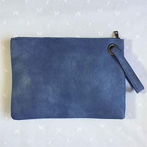 SGHA Fashion Solid Color Handbag Ladies Clutch Bag Ladies Envelope Bag Zipper Evening Bag (Color : LightBlue)