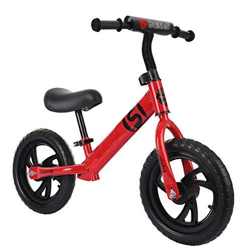 Bicicleta sin pedales YXX Bici Rojo Bicicleta De Equilibrio para Niñas Edades 2 3 4 5 6 Años, Asiento Ajustable Sin Triciclo De Pedal con Neumáticos Planos, Mejor Regalo De Cumpleaños