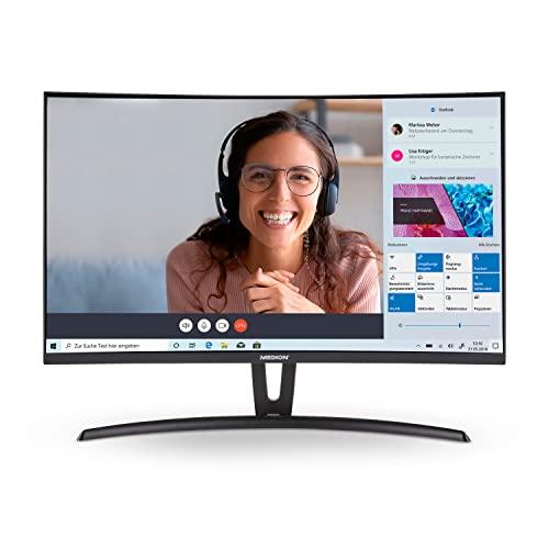 MEDION P52760 68,6 cm (27 Zoll) Full HD Curved Monitor (16:9, integrierte Lautsprecher, HDMI, VGA, Audio In, mehrsprachiges Menü)