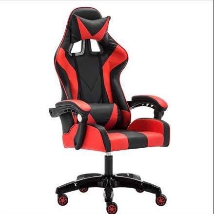 LWZ Sillas de Juego, sillas de Oficina, sillas giratorias robustas y ergonómicas, sillas con Cojines y respaldos Ajustables, sillas con reposapiés retráctiles (Negro y Rojo),Black Red