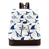 Mochila casual de cuero de la PU para los hombres, bolso de hombro de las mujeres estudiantes mochila para viajes negocios universidad cuchillo y tiburón