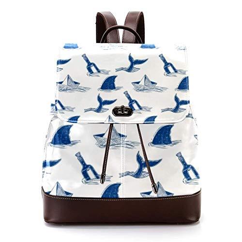 Lässiger PU Leder Rucksack für Männer, Damen Schultertasche Studenten Daypack für Reisen Business College Messer und Hai