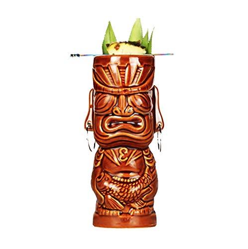 Yousiju Tazas Tiki Copa de cóctel Cerveza Taza de Vino Tazas de cerámica Tiki Artesanías Tazas Creativas de Hawaii (Color : A)