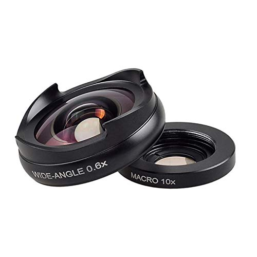 Compatible Cámara Principa 2in1 Macro +0.6X Lente De Gran Angular 1.5-5cm Super Macro Cámara Móvil Kit Samsung HTC LG Pro Lens Kit para Teléfono (Color : Black)