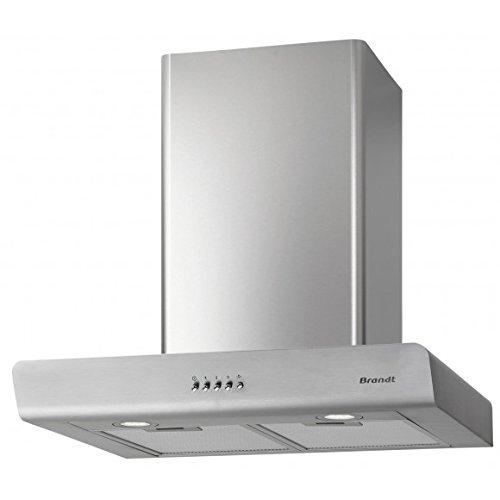 Brandt BHB6602X hotte 593 m³/h Monté au mur Acier inoxydable - Hottes (593 m³/h, Conduit/Recirculation, 68 dB, 370 m³/h, 58 dB, 63 dB)