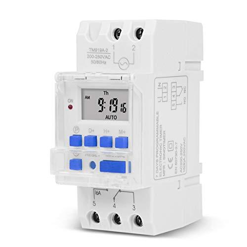 Interruptor de Tiempo de Entrada Digital programable semanal electrónico de 7 días Control de Temporizador de relé Montaje en Carril DIN 16A