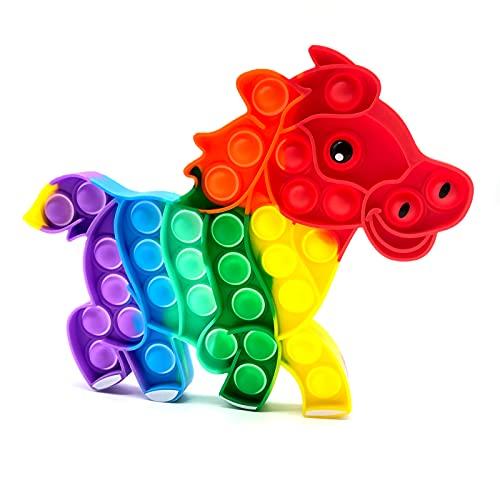 Pop Fidget Toy Antistress Spielzeug für Erwachsene und Kinder Anti Stress Sensorik Simple Dimple Fidget Toy Set Squishy Bubble Push pop viele La Form (Pferd)