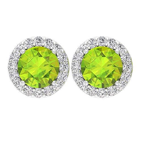 Rosec Jewels - 10 K Weißgold Runder Brilliantschliff Rund Leicht Getöntes Weiß/Top Crystal (I) Green Diamant Peridot