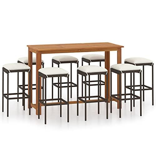 UnfadeMemory Set Tavolo con SgabelliAlto da Balcone, Set Bar da Giardino con Cuscini in Polyrattan, Tavolo da Bar in Legno 150 x 70 x 105 cm (L x P x A) (Marrone, 9 pz)