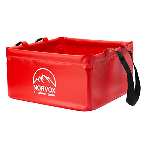 NORVOX Cuenco plegable para exteriores, cubo plegable para camping, 15 o 20 litros, universal, como recipiente para lavado, lavaplatos, cubo plegable o cubo de agua (rojo señal – 20 L)