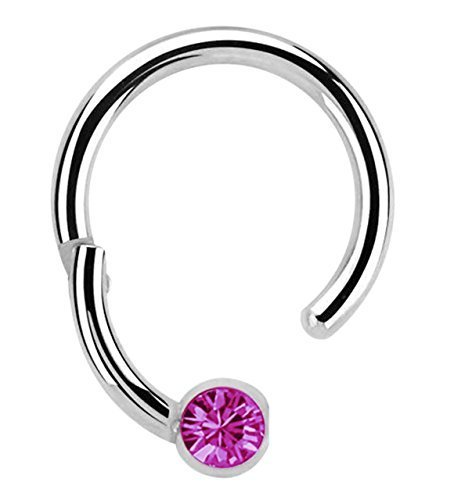 Modern Nature Piercingschmuck Piercing 316l Stahl Ring BCR, Clicker 1,2 x 10 mm mit 3 mm Steinkugel in pink