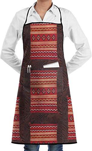 N\A Coral Native American Indian Western Couverture réglable Polyester Lavable Unisexe Cuisine Tablier de Cuisine avec Poche