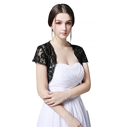 Czy accessories Women Short Sleeve Lace Shrug Open Front Cardigan Large