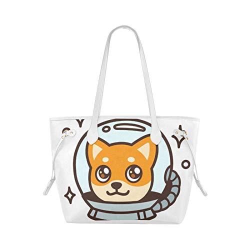 JIUCHUAN Bolsos de mano para llevar, astronauta espacial, cachorro, perro, oficina, bolso...