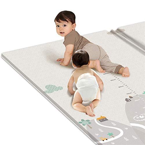 Xisimei Spielmatte, 200 * 180 * 1cm Faltbare Große Anti-Rutsch Krabbeldecke, Doppelseiten Spielbar Baby Kleinkind Crawl Mat, als Krabbelmatte für Kind, Yogamatte, Isomatte, Bodenmatte Kinder
