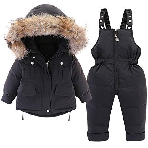Baby Daunenjacke und Daunenhose 2PCS, Mädchen Winter Mantel mit Kapuze Kinder Skianzüge 18-24 Monate