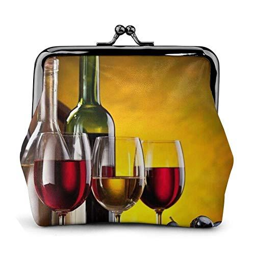Monedero de botellas de vino y bebida Bule -Lo pequeño bolsa de cuero para cambio de regalo para mujeres