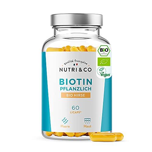 Pflanzliches Biotin und BIO Hirse | Nahrungsergänzung gegen Haarausfall und besseres Haarwachstum | Vitamin B8 für Haut, Haare & Nägel | Hochdosiert I 60 Kapseln | Vegan I Ohne Zusätze | Nutri&Co