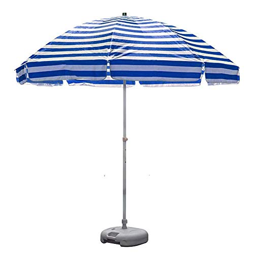 8.2' Portable Striped Beach Umbrella UV 50+, Outdoor Patio Umbrella, Market Table Umbrella with 8 Sturdy Ribs and Crank (Blue and White) (Color : Blue and white stripes)