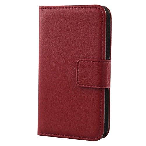 Gukas Design Veritable Cuir Etui pour Archos 50 Diamond Housse Coque Premium Case Cover Flip Protecteur Portefeuille Genuine Leather Wallet (Rouge Fonce)