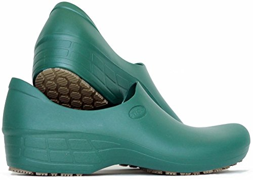 Sticky Comfortable Work Shoes for Women - Nursing - Chef - Waterproof Non-Slip Pro Shoes (Dark Green, 7)