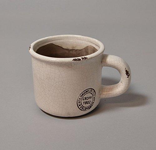 Pflanzgefäß Pflanztasse mit Henkel Keramik im Used Emaille- Look mit Emblem