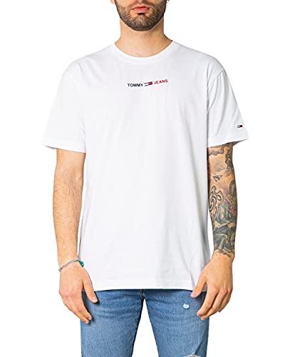 Tommy Jeans Tjm Linear Logo Tee T-Shirt, Bianco, XL Uomo