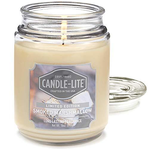 Candle-lite ® Duftkerze im Glas - Smoked Marshmallow (510 g) - entspannender Marshmallow Duft für den Winter - Kerze mit bis zu 110 Stunden Brenndauer
