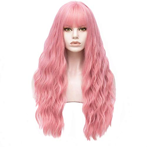 HIAYSAN Long Water Wavy Curly Pink 24 Inches Hair Wigs for Women with Neat Bangs for Cosplay Anime Costome Party