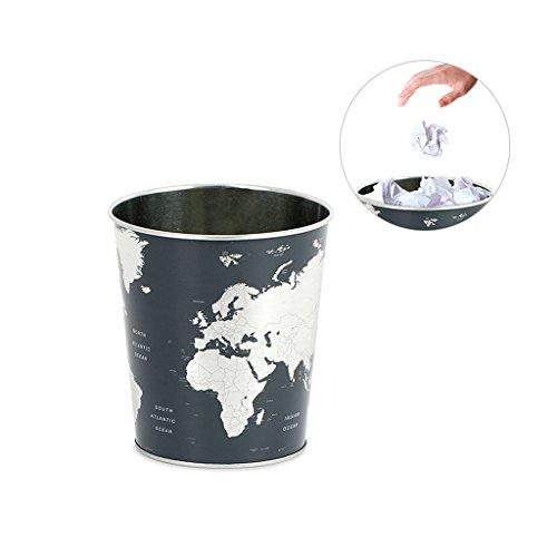 Balvi Papelera Globe Color Negro diseno? Mapa Mundo Lata 26x22x17,7 cm